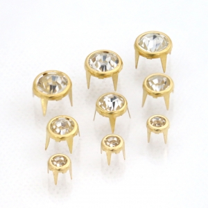 4 Prong Rhinestone Rivets - Transparent Stone