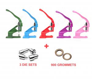 Heavy Duty Press for Grommets, Snaps, Buttons & Rivet Package (3 die sets + 900 grommets)